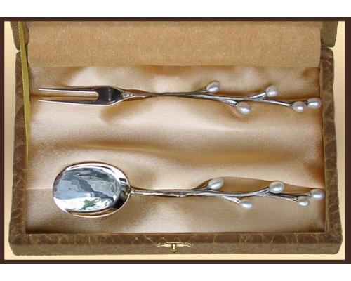 """Набор серебряный десертный """"Верба"""" 2 шт."""