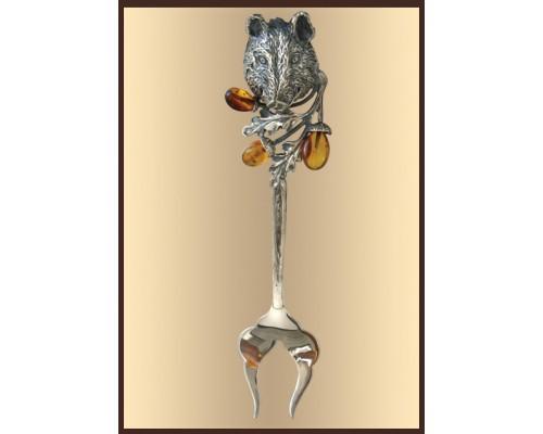 "Серебряная вилка для мяса ""Кабан"""