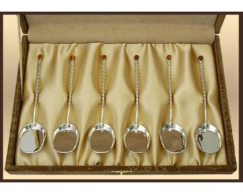 """Набор серебряных ложек для торта """"Витая"""" 6 шт."""